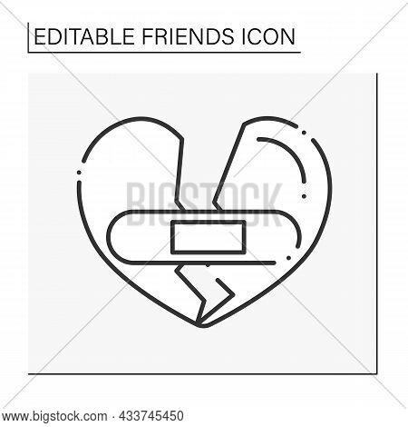 Forgiveness Line Icon. Repair Broken Hearts. Medicine. Empathy. Friends Line Icon. Isolated Vector I