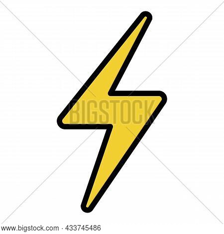 Lightning Sign Icon. Outline Lightning Sign Vector Icon Color Flat Isolated