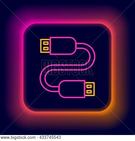 Glowing Neon Line Usb Cable Cord Icon Isolated On Black Background. Connectors And Sockets For Pc An