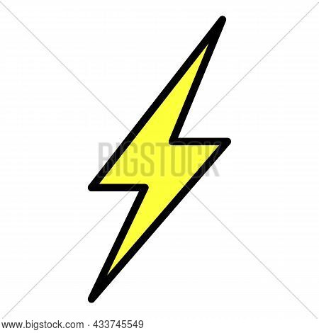 Lightning Symbol Icon. Outline Lightning Symbol Vector Icon Color Flat Isolated