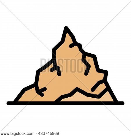 Pile Coal Icon. Outline Pile Coal Vector Icon Color Flat Isolated