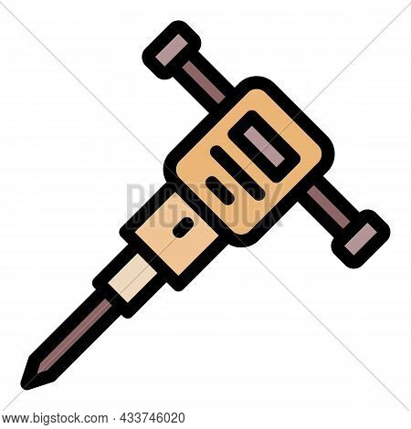 Drilling Machine Icon. Outline Drilling Machine Vector Icon Color Flat Isolated