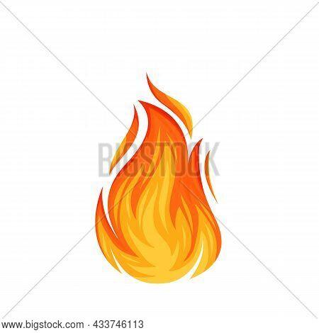Fire Flame. Hot Flaming Element. Bonfire Decorative Element. Red And Orange Blaze Vector Illustratio