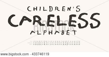 Childrens Careless Alphabet, Hand Drawn Doodle Letters, Marker Line Font. Childhood Fun Letter Set F