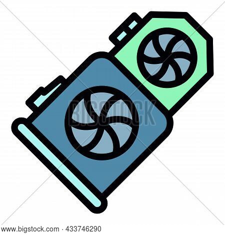 Double Mining Video Card Icon. Outline Double Mining Video Card Vector Icon Color Flat Isolated