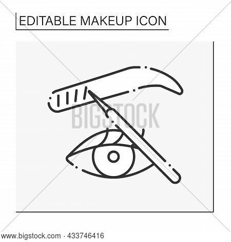 Microblading Line Icon. Cosmetic Tattooing Procedure. Fills In Thin Eyebrow Areas To Make Them Look
