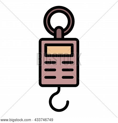 Handle Electric Scales Icon. Outline Handle Electric Scales Vector Icon Color Flat Isolated