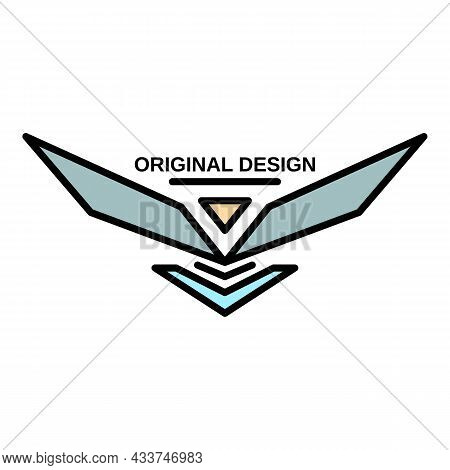 Wings Original Logo. Outline Wings Original Vector Logo Color Flat Isolated