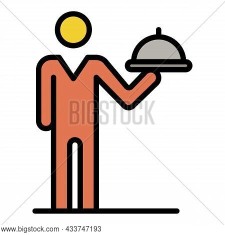 Waiter Man Icon. Outline Waiter Man Vector Icon Color Flat Isolated