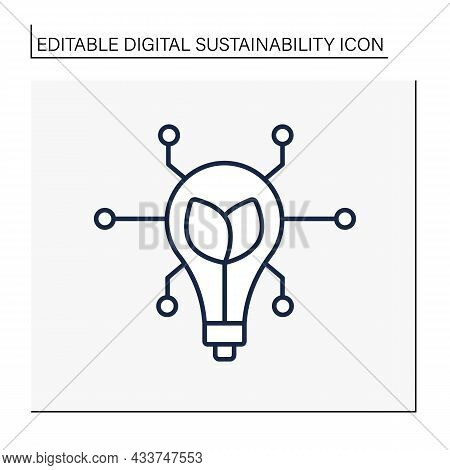 Modern Technology Line Icon. Global Sustainability Goals. Industrial Innovation. Web Page About Ecol