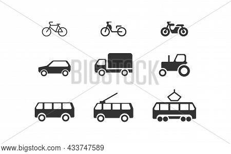 Various Transportation Set Black Icon. Car Bus Bike And Motorcycle. Vector