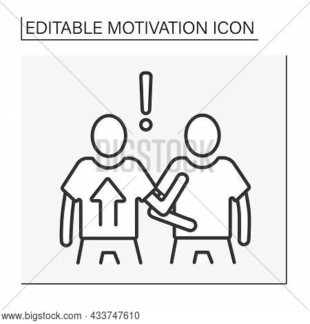 Attitude Motivation Line Icon. Motivating People By Influencing Thoughts And Behaviors. Motivation C