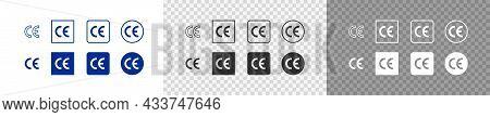 Ce Mark Set Icon. European Certificate. Vector Flat