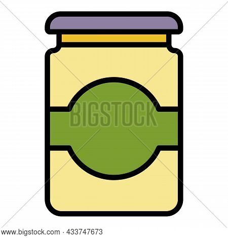 Cute Jam Jar Icon. Outline Cute Jam Jar Vector Icon Color Flat Isolated