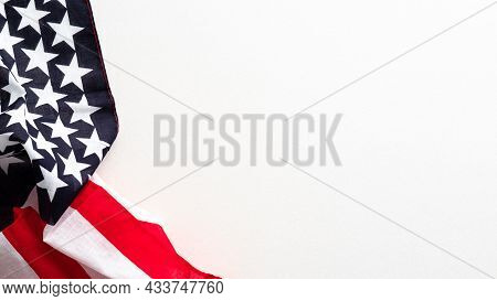 Happy Columbus Day Banner Design. Usa Flag Isolated On White Background.