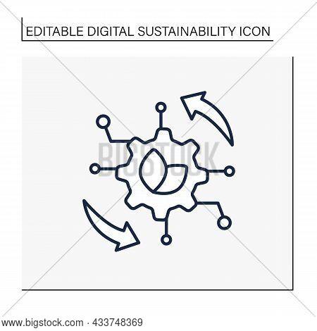 Digital Operation Line Icon.transformation Center. Sensing And Optimization Mechanism.digital Sustai