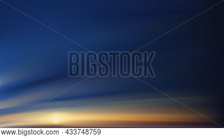 Sunset Sky In Evening With Orange, Yellow And Purple Colour, Dramatic Twilight Landscape With Dark B