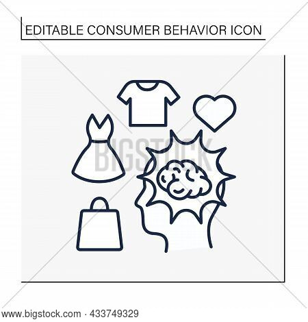 Brainstorming Line Icon. Searching For Perfect Goods. Shopping. Sorting And Grouping Favourite Cloth