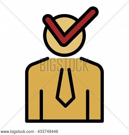 Check Man Lecture Icon. Outline Check Man Lecture Vector Icon Color Flat Isolated