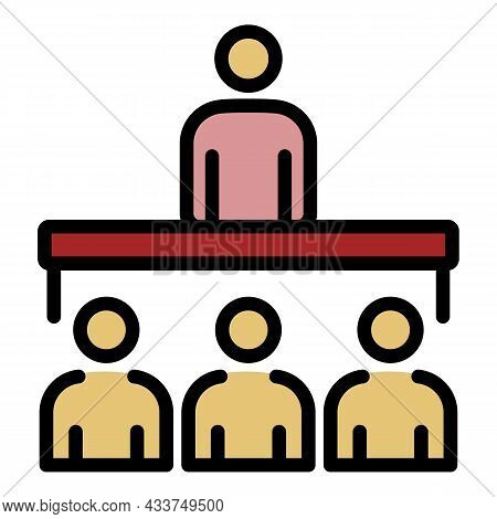 Lecture Class Speaker Icon. Outline Lecture Class Speaker Vector Icon Color Flat Isolated