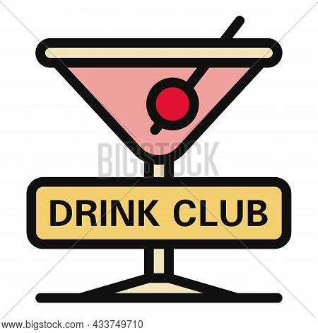 Drink Club Icon. Outline Drink Club Vector Icon Color Flat Isolated