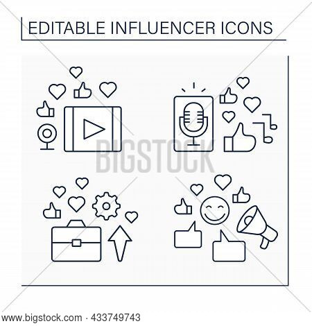 Influencer Line Icons Set. Video Clip, Podcast. Industry Expert. Blogging Concept. Isolated Vector I