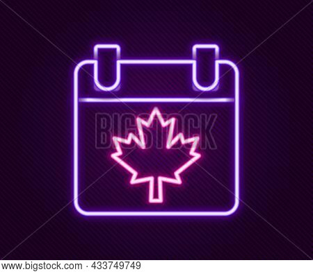 Glowing Neon Line Canada Day With Maple Leaf Icon Isolated On Black Background. 1-th Of July Indepen