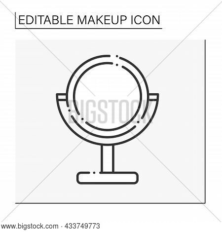Mirror Line Icon. Decorative Table Mirror With Illumination. Trendy Interior Thing. Makeup Concept.