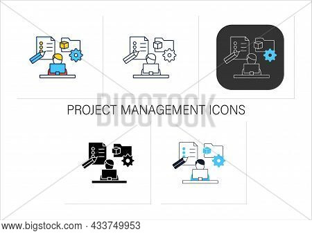 Project Management Icons Set.manage All Works On Laptop. Planning, Controlling And Closing Projects.