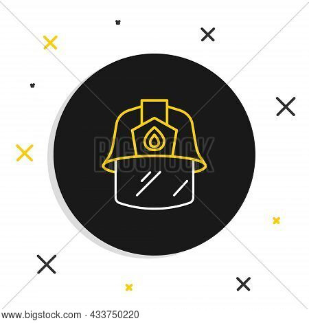 Line Firefighter Helmet Or Fireman Hat Icon Isolated On White Background. Colorful Outline Concept.