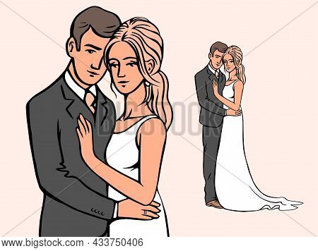 Portrait Of The Bride And Groom. Beautiful Newlywed Couple. Template For Decorating Wedding Cards An