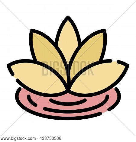 Lotus Flower Icon. Outline Lotus Flower Vector Icon Color Flat Isolated