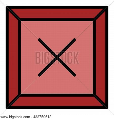 Cross Firewall Icon. Outline Cross Firewall Vector Icon Color Flat Isolated