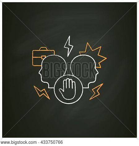 Avoid Conflict Chalk Icon. Aggravating Conflict Between Two Persons. Fight.misunderstanding Concept.