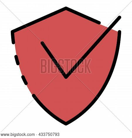 Firewall Protection Shield Icon. Outline Firewall Protection Shield Vector Icon Color Flat Isolated