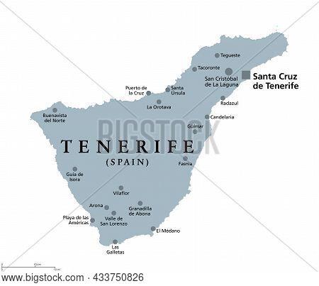 Tenerife Island, Gray Political Map, With Capital Santa Cruz De Tenerife. Largest And Most Populous
