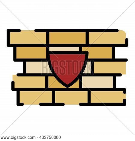 Shield Firewall Icon. Outline Shield Firewall Vector Icon Color Flat Isolated