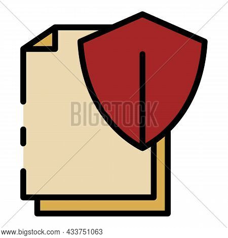Protected Shield Document Icon. Outline Protected Shield Document Vector Icon Color Flat Isolated
