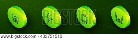 Set Isometric Line Cd Or Dvd Disk, Retro Cinema Camera, Tv And Home Stereo With Two Speakers Icon. V