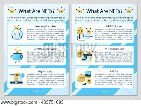 Nft Brochures Icons.digital Art. Non Fungible Token Template.flyers, Magazines, Posters, Book Covers