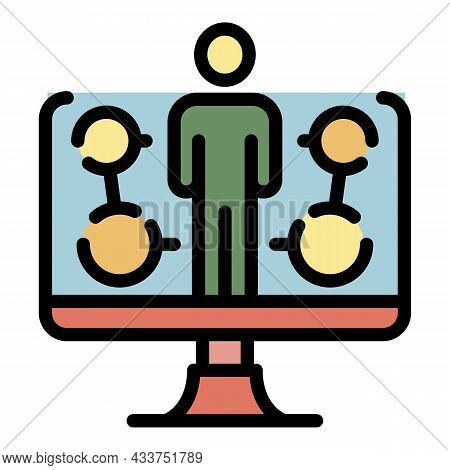 Online Workshop Icon. Outline Online Workshop Vector Icon Color Flat Isolated