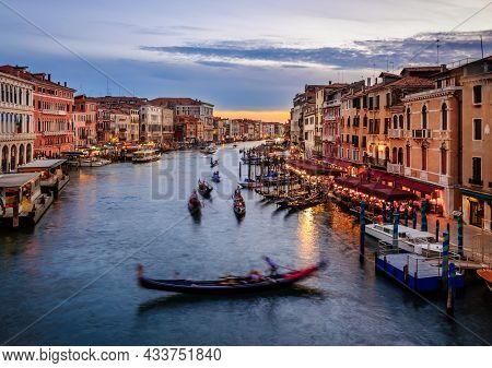 Gondolas In Canal Grande In Sunset Time In Venice
