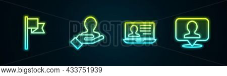 Set Line Location Marker, Hand For Search People, Laptop With Resume And Person. Glowing Neon Icon.