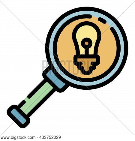 Bulb Under Magnify Glass Icon. Outline Bulb Under Magnify Glass Vector Icon Color Flat Isolated