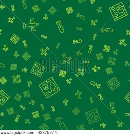 Set Line Road Traffic Signpost, Amusement Park Map And Tree On Seamless Pattern. Vector
