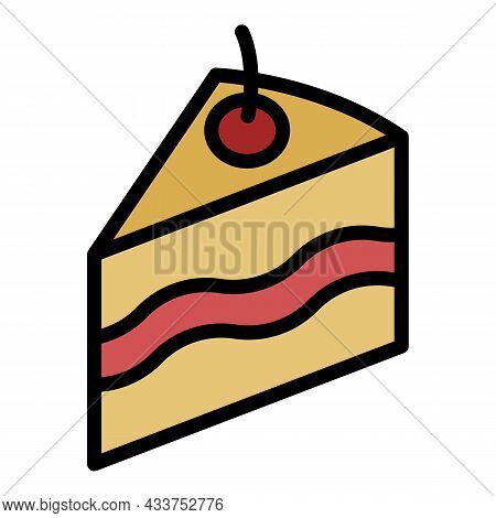 Piece Of Cake Icon. Outline Piece Of Cake Vector Icon Color Flat Isolated