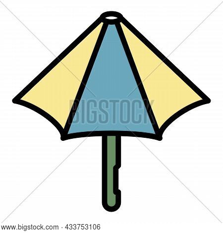 Umbrella Closed Half Icon. Outline Umbrella Closed Half Vector Icon Color Flat Isolated