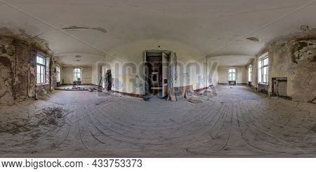 360 Hdri Panorama In Abandoned Empty Concrete Room Or Unfinished Building. Full Seamless Spherical P