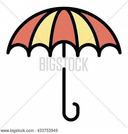 Retro Umbrella Icon. Outline Retro Umbrella Vector Icon Color Flat Isolated