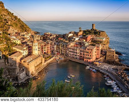Vernazza In Cinque Terre At Sunset, Italian Town